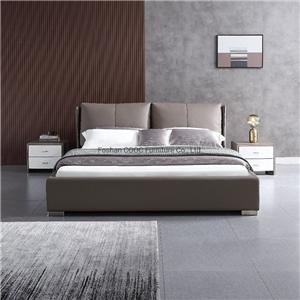 M1066 Modern Bedroom Furniture Super Soft Light Brown Leather King Bed