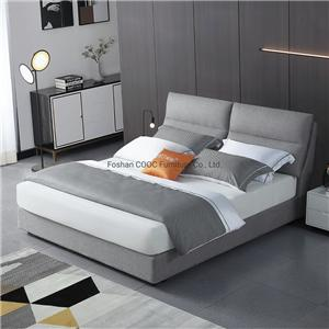 KS3181 Minimalist Style Modern Bedroom Furniture Grey Fabric King Beds