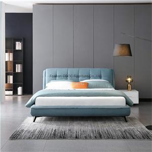 KS3178 Chinese Modern Bedroom Furniture Leisure Blue Fabric King Bed