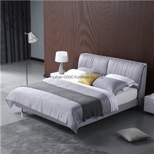 KS3172 Deep Soft Couches Modern Bedroom Furniture Grey Fabric King Bed