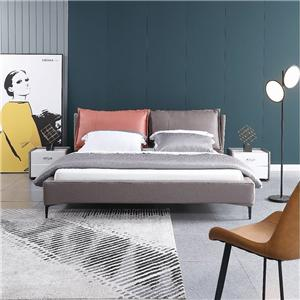 KS3179 Modern Nordic Bedroom Living Room Furniture Queen Size Fabric Bed