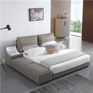 KS2581 Chinese Modern Bedroom Furniture Brown Leather King Bed with Storage Chinese Modern Bedroom Furniture Brown Leather King Bed with Storage