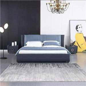 KS2538 Modern Bedroom Furniture High Quality Blue Leather King Bed