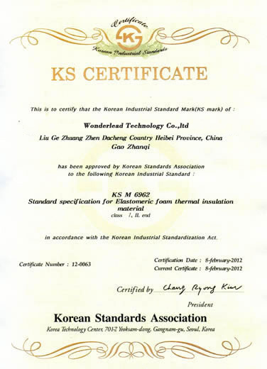 Korea KS Certificate