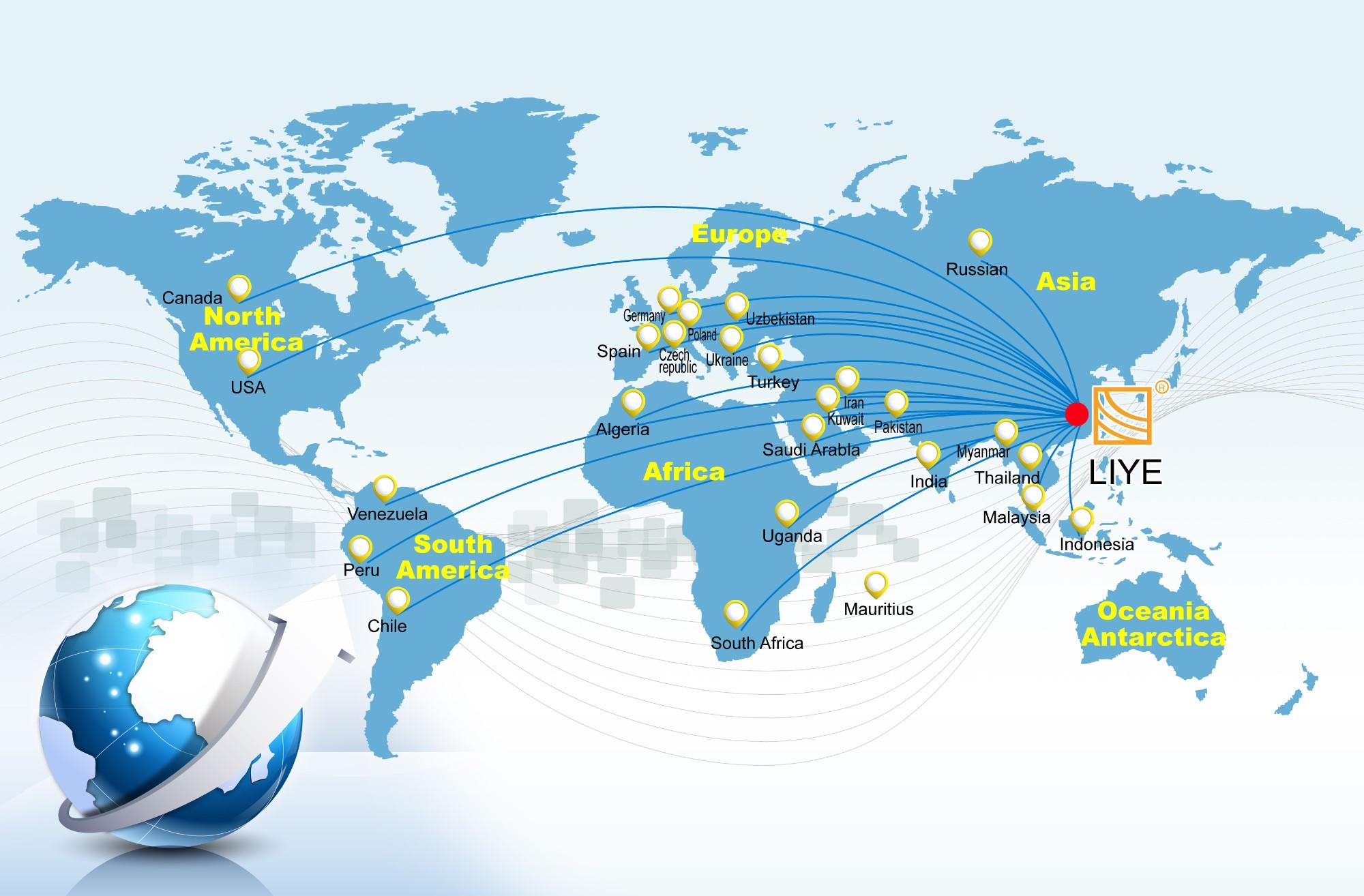 Thị trường toàn cầu và dịch vụ khách hàng của Liye Machinery