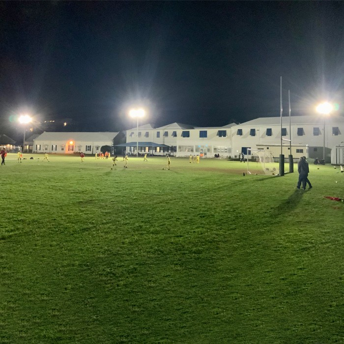 500W LED sports lighting at school field for both soccer and football in Bermuda