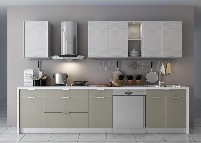 Kain Grey Simple Elegant Kayu Kabinet Dapur