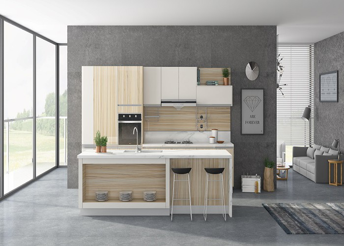 UV Lacquer Teak Modern Design All Wood Kitchen Cabinet