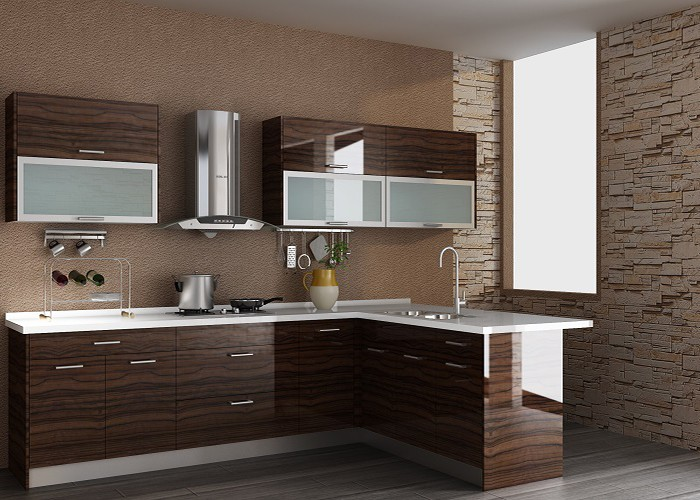 UV Brown Contemporary High Gloss All Wood Kitchen Cabinet