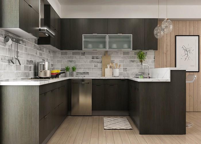 Dark Wood Klasik Rakitan Semua Kayu Kabinet Dapur