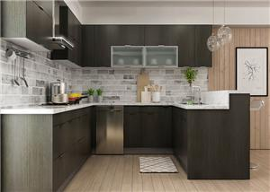 Dark Wood Classic Assembled All Wood Kitchen Cabinet