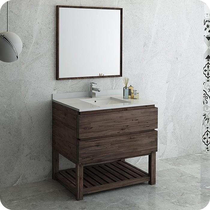 Floor Standing Modern Bathroom Set With Open Bottom And Mirror