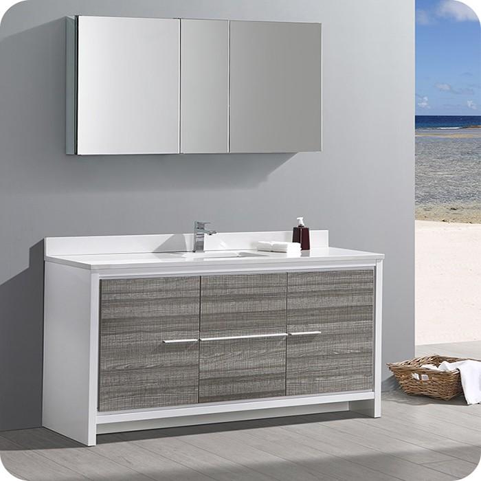 Ash Gray Single Sink Bathroom Vanity Set With Medicine Cabinet