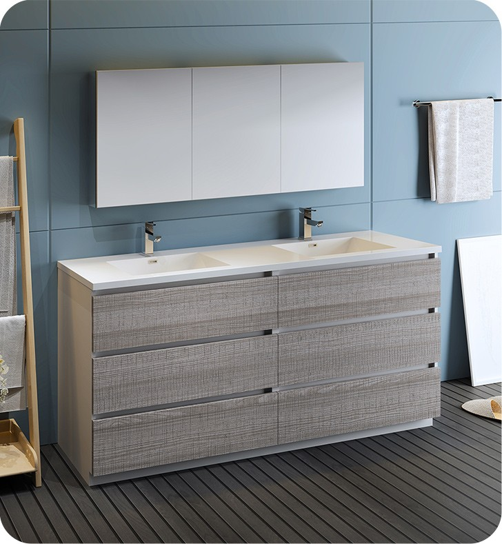 Ash Gray Free Standing Double Sink Bathroom Set With Medicine Cabinet