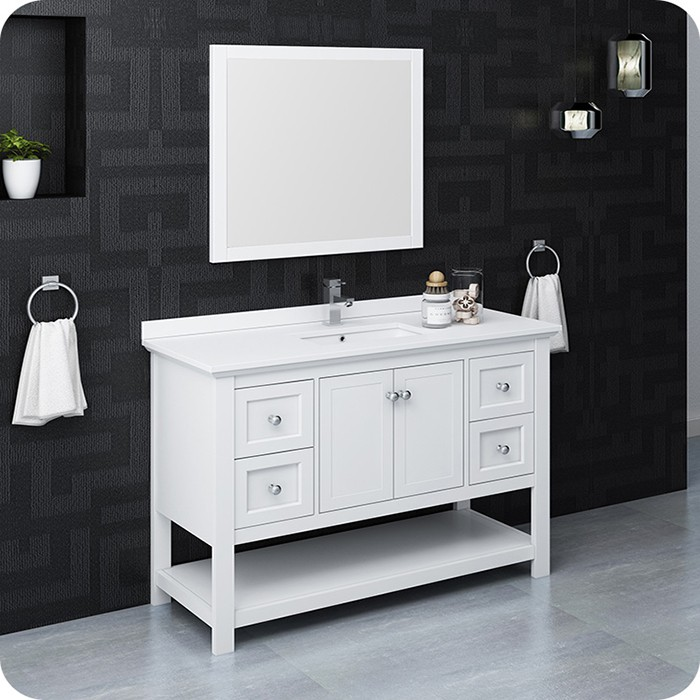 Classic White Traditional Bathroom Vanity Set With Mirror