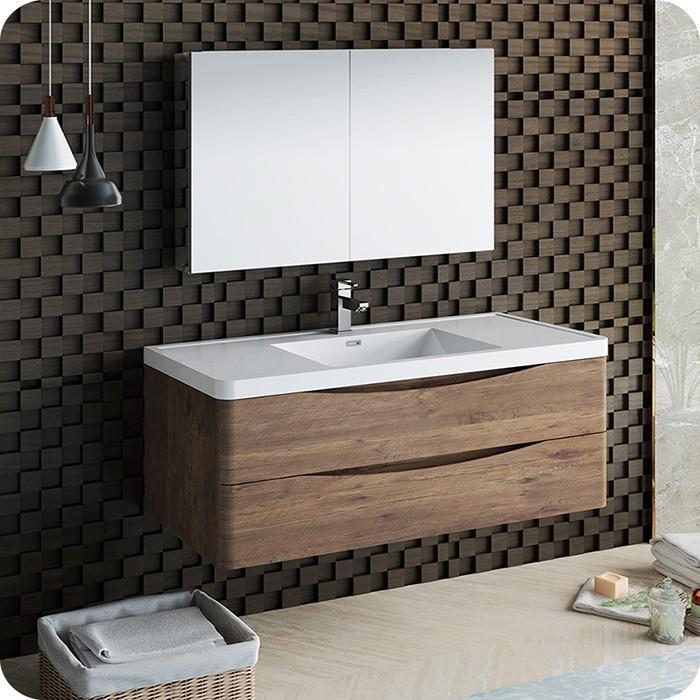 Rosewood Wall Hung Modern Bathroom Vanity Set With Medicine Cabinet