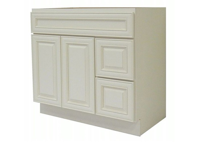 Antique White Modular Bathroom Glazed Vanity Cabinet