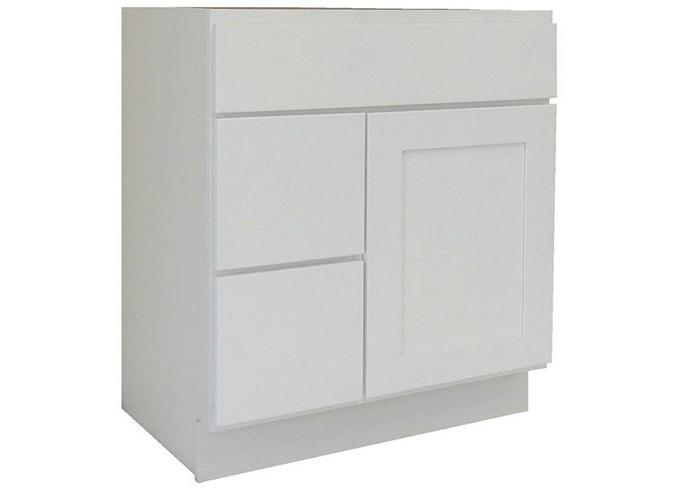 Alpine White Solid Wood Bathroom Modest Vanity Cabinet