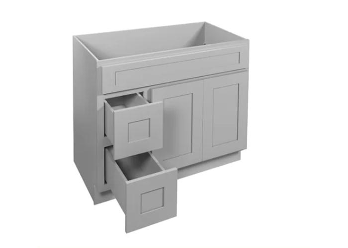 Gray Silver Wooden Kitchen Elegant Vanity Cabinet
