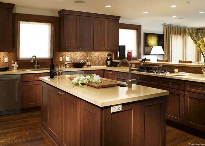 Mocha Maple Natural Wooden Kitchen Cabinet