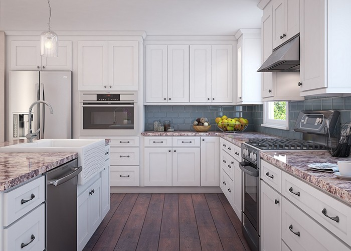 Alpine White Shaker Style Wooden Kitchen Cabinet