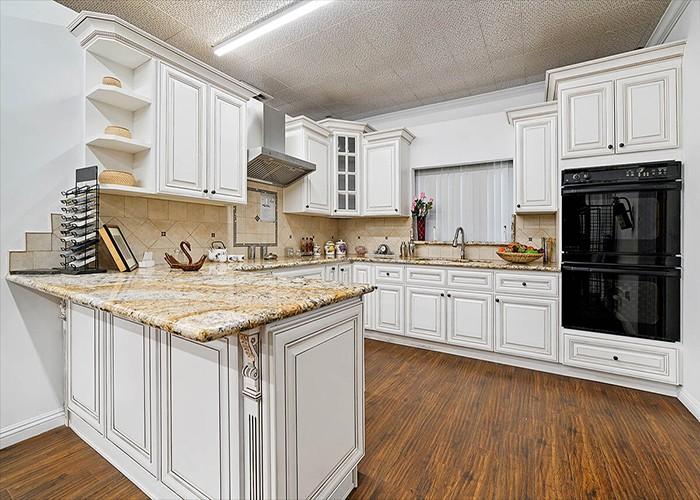 Antique White Craft Made Modular Kitchen Cabinet
