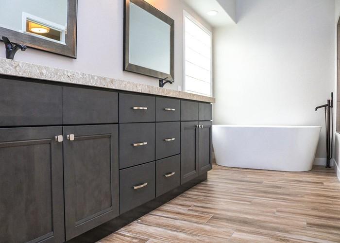 Greige Maple Modern Bathroom Wooden Vanity Cabinet