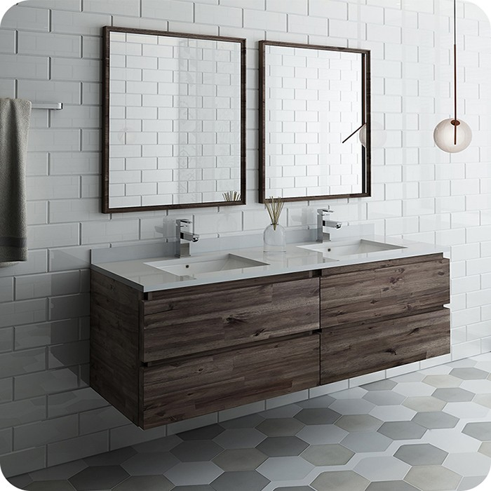 Modern Wall Hung Double Sink Modern Bathroom Vanity Set With Mirrors
