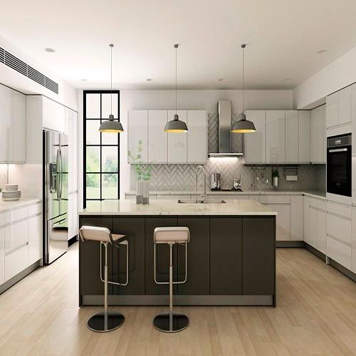 Kabinet Dapur Lacquer Putih modern Kayu