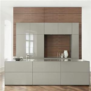 Lacquer Ash Simple Dark All Wood Kitchen Cabinet