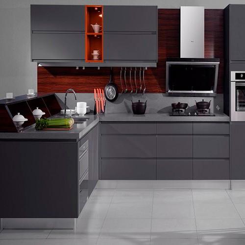 Lacquer Gray Kontemporer Semua Kabinet Dapur Kayu