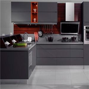 Lacquer Grey Contemporary All Wood Kitchen Cabinet