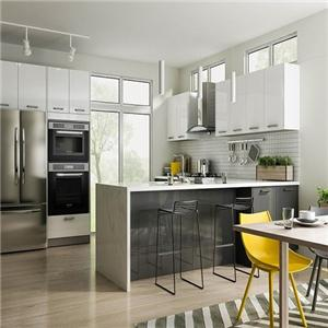 Glossy White Stylish Contemporary All Wood Kitchen Cabinet