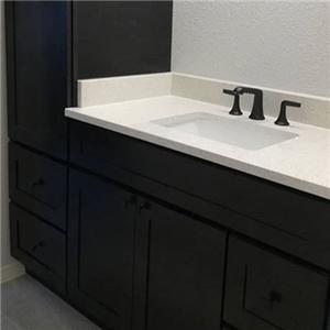 Charcoal Black Simple Bathroom Natural Wood Vanity Cabinet