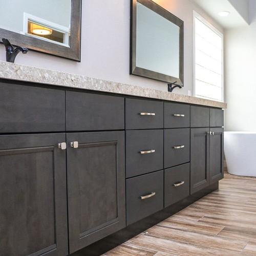 Greige Maple Modern Bathroom Kayu kesombongan Kabinet