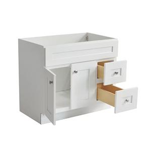 Hillcrest White All Wood Bathroom Contemporary Vanity Cabinet