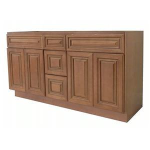 Coffee Glazed Wooden Bathroom Natural Maple Vanity Cabinet