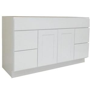 Alpine White Solid Wood Bathroom Modest Vanity Cabinet