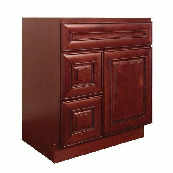 Dark Cherry Solid Wood Bathroom Classic Vanity Cabinet