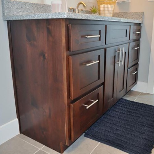 Mocha Maple Solid Wood Bathroom Shaker Vanity Cabinet