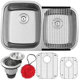 18-Gauge Stainless Steel ganda Basin mendalam ditarik Offset Kitchen Sink