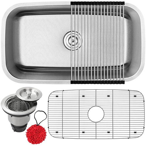 18-Gauge Stainless Steel Single Basin Deep Drawn Kitchen Sink