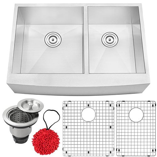 16-Gauge Stainless Steel Undermount Double Basin Kitchen Sink