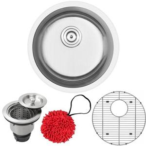 16-Gauge Stainless Steel Single Basin Round Kitchen And Bar Sink