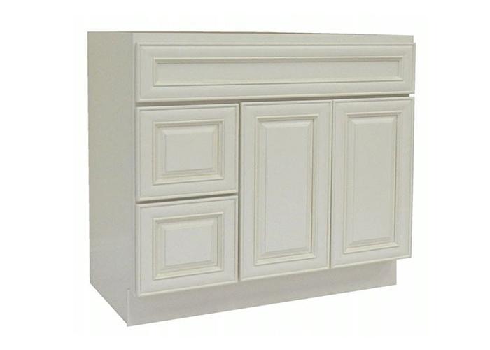 glazed vanity cabinet