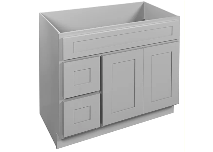 gray silver cabinet