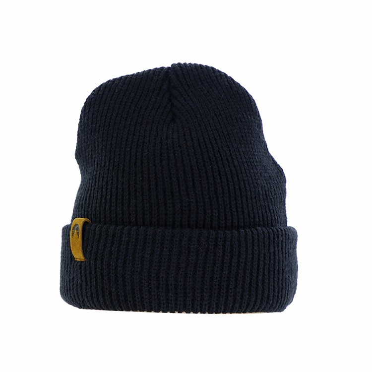 Mens 100% Acrylic Leather Patch Beanie Hat