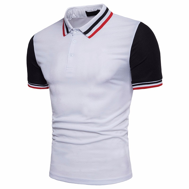 Different Color Collar And Cuff Pique Polo Shirt