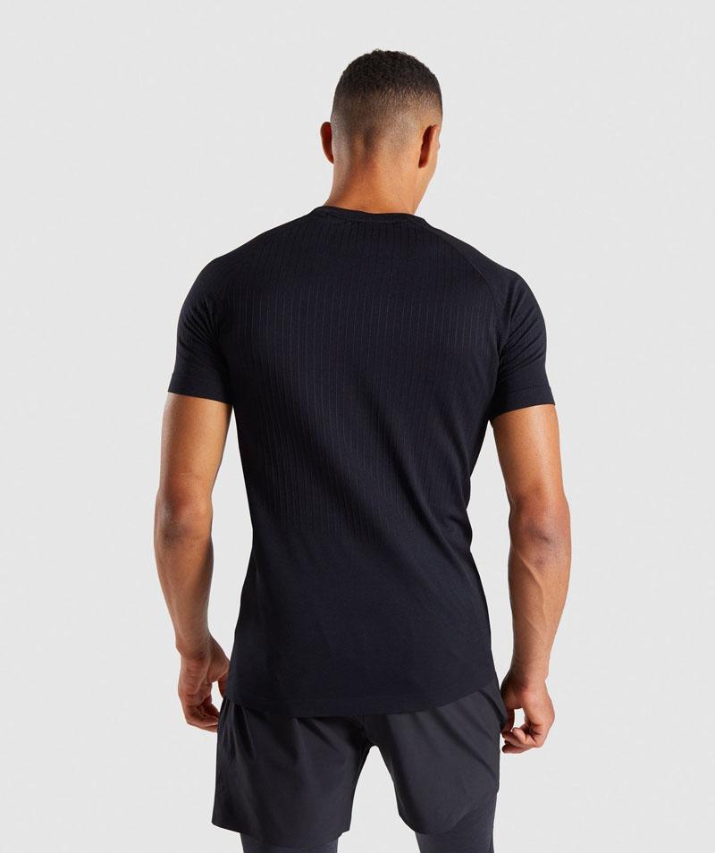 black mens seamless T-shirt