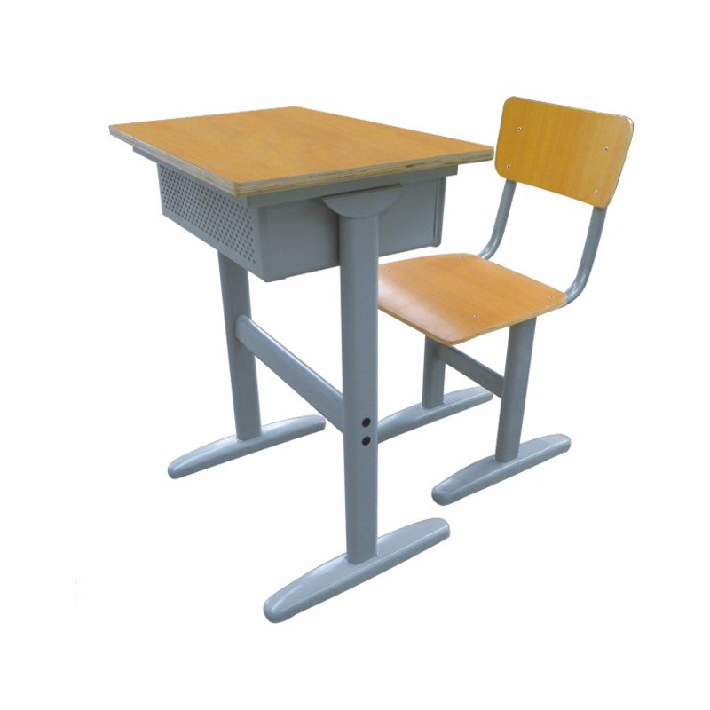 Adjustable Wooden School Desk And Chairs Furniture